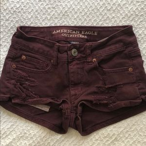 ripped american eagle shortie shorts